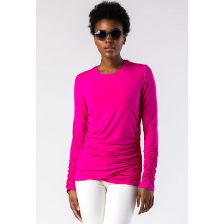 Mott50 Maria UV Long Sleeve Ruffle Fuchsia
