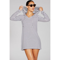 Mott50 Nancy Hooded Cover-Up White Navy Stripe