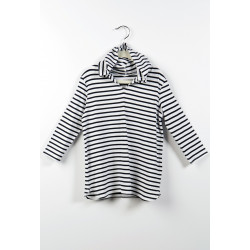 Mott50 Girls Mini Nancy UV werende Kaftan White Navy Stripe