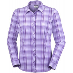 Columbia Dames UV Blouse Saturday Trail Stretch Soft Violet Plaid