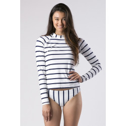Mott50 Leigh Dames UV Werend Zwemshirt Lange Mouw True Navy Stripe