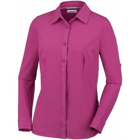 Columbia Dames UV Blouse Saturday Trail Stretch Wine Berry